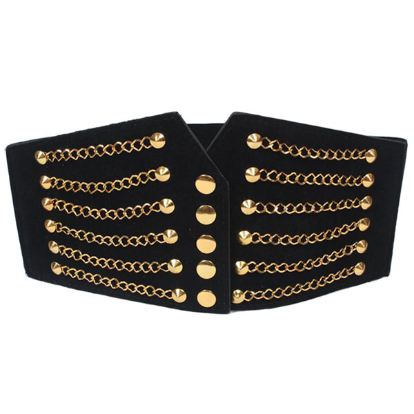 Women Gold Tone Chain Front Elastic High Waist Belt Cinch Black CC2003